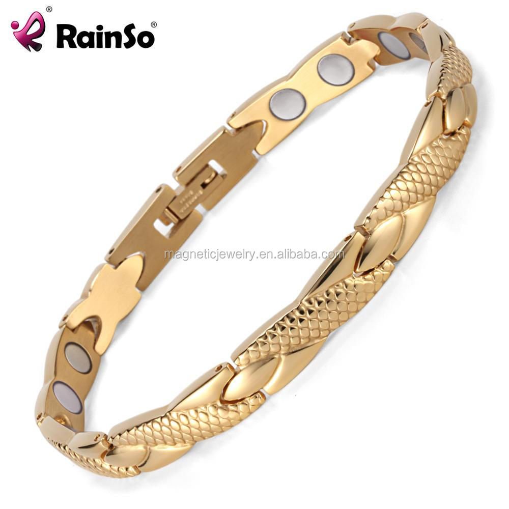 High Polished Two Tone Magnet Sport Fitness Titanium Steel Bracelet Women