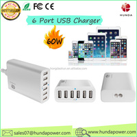 high Quality mobile phone accessories manufacturer 12A 6 port usb charger 1200ma wireless charger usb wall charger