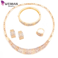 Hot Women Necklace Vintage Gold Plated Fashion Crystal Rhinestone rani haar jewelry set