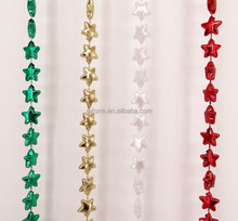 48 inches 14mm Star beads Mardi Gras & Patriot necklaces in Metallic Pearl Opaque 3-Sections Custom colors Mardi Gras Star beads