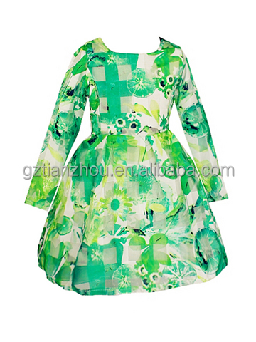 Hot Selling Green Dresses Flower Girls Dresses Print Long Sleeve Girl's Dress