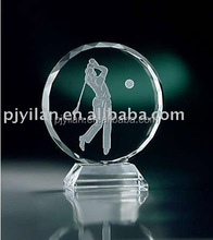 blank round clear crystal shield award with laser crystal shield award