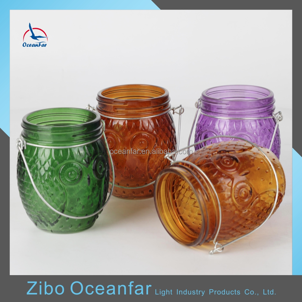 High Quality Owl Candle Holder Round Glass Decorative Lanterns With Colored Glass For Candles