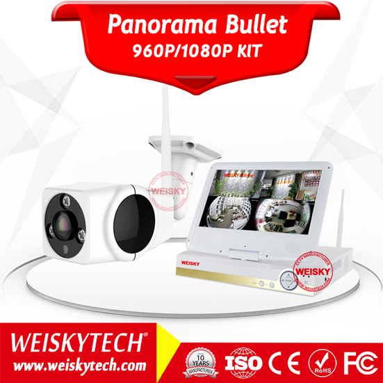 Weisky 4CH 1080P Panorama 360 Degree Wifi CCTV Camera 10.1 Inch LCD NVR HOME Security Camera System Outdoor Wireless