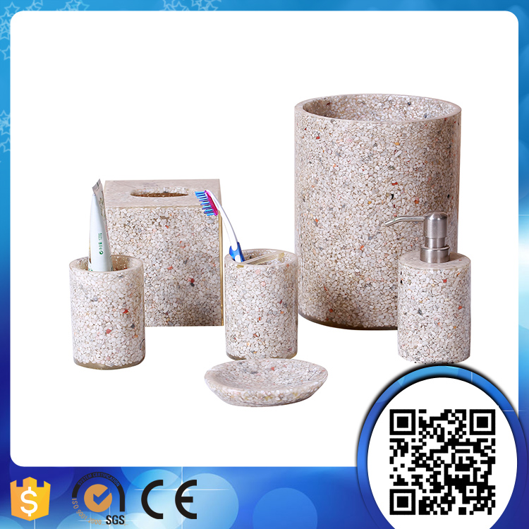 Imitated marble stone bathroom accessory sets for SPA