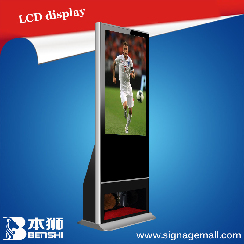 "42"" floor standing transparent glass led display/ shoes-polishing led tv display panel/ adv billboard"
