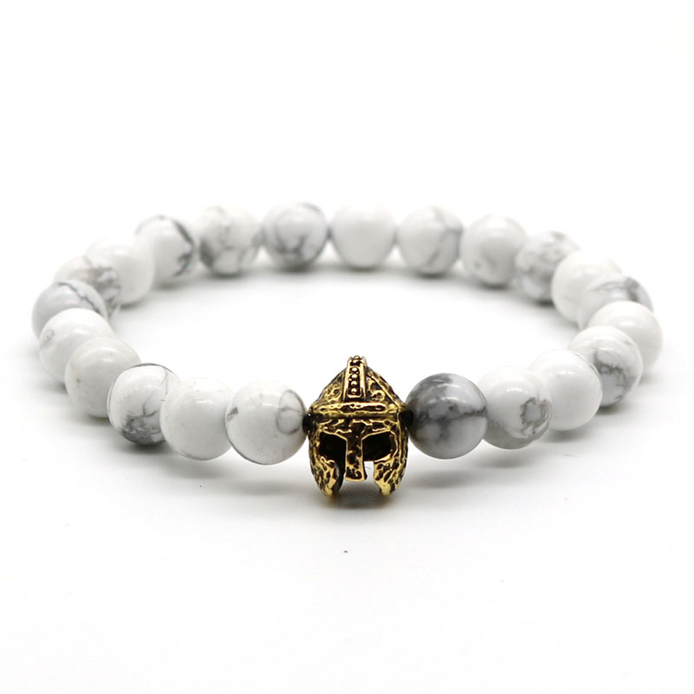 5% OFFER NOW!!! Mens Jewelry stainless steel antique gold charm roman gladitator helmet bracelet Howlite gemstone beads bracelet