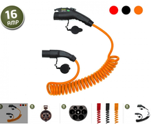 16a sae j1772 type 1 to iec62196 type 2 plugs spring spiral ev electric car charging cable leads charging stations