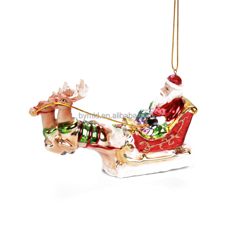 glass santa claus handpainted hanging christmas decoration
