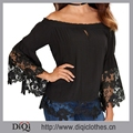 2017 summer new design Long Sleeve Ladies top, Lace Off shoulder Blouse