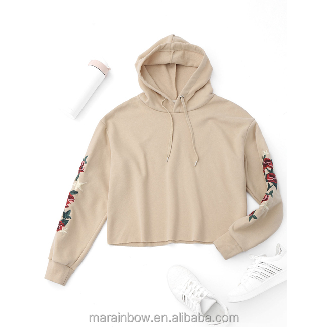 Autumn Short top flower embroidery with hood Top For women Hoodies sweatshirts winter Casual clothing with long sleeves pullover