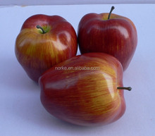 3 Artificial Weighted Red Burgundy Apples Fake Faux Fruits and Vegetables