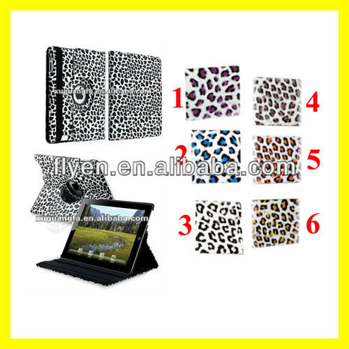 For The New iPad 4 3 2 Leopard Rotating Magnetic Leather Case Stylish Smart Cover Wholesale Cheap Lot Cases Covers 6 colors 5