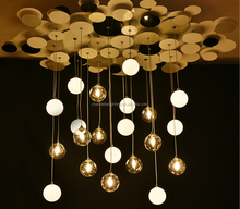 hot selling Creative black /white round glass boll/LED aluminum Chandelier