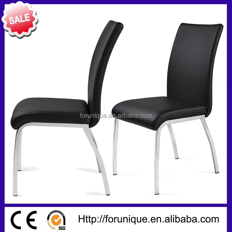 black leather chrome legs dining room chair