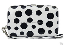 Dots Printing Pu Clutch Clip Wrist Cell Phone Purse Wallet Case Cover For Iphone 5 , Iphone 6 , Sumsung