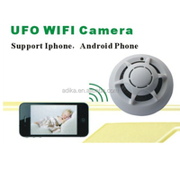 for Iphone/Android smart phone P2P funtions UFO camera wifi smoke detector hidden camera