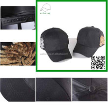 New arrive top quality factory price 100% cotton baseball cap hiking leisure snapback sequin cap stylish babseball cap