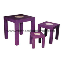 Quality eco-friendly traditionally hand finished vietnamese lacquer bamboo furniture in purple & natural bamboo color