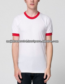 new design 100% cotton contrast color blank long sleeve round neck men t shirt cheap wholesale clothes