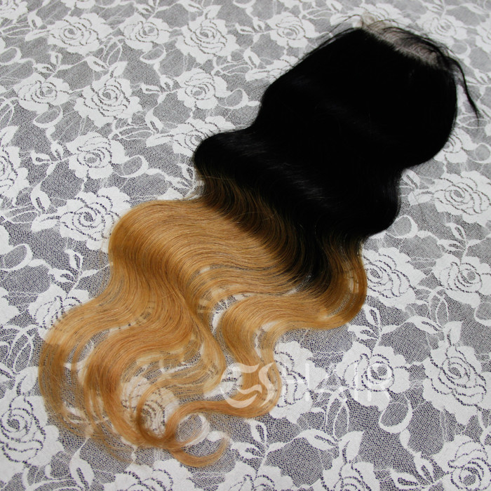 7A Brazilian straight lace closure 10-20inch ombre color 100% virgin hair extesnions