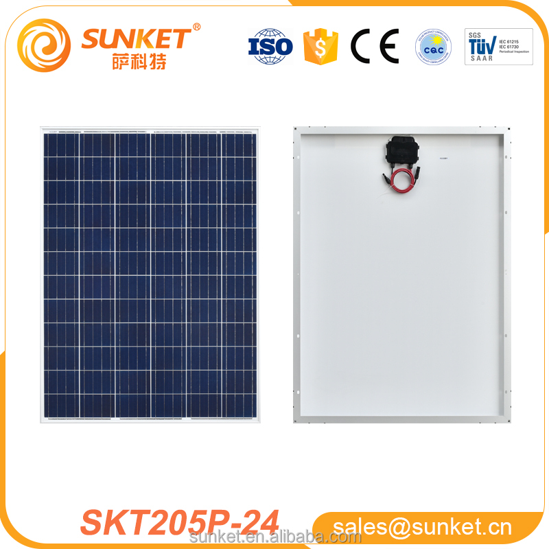 high efficiency 205w poly solar panel for Off- grid PV solar panel system with TUV ISO CE