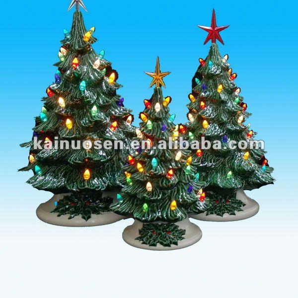 vintage style keramik weihnachtsb ume mit led licht weihnachten kunstwerke produkt id 640621123. Black Bedroom Furniture Sets. Home Design Ideas