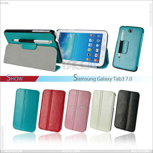 Multicolor leather case with bonus pen fot typing for Samsung tab 3 7.0 P-SAMP3200CASE017
