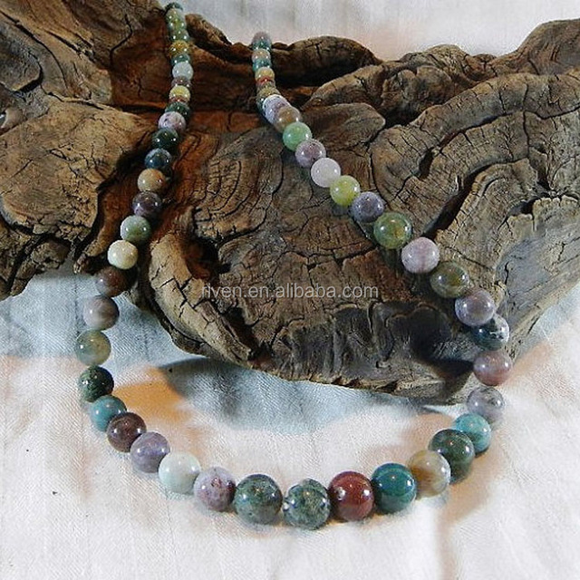 ST0161 Multicolor Indian agate necklace 25 inches long graduated size natural stone necklace semiprecious stone jewelry