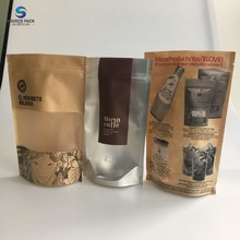 Stand up coffee pouches Eco-friendly Tea Kraft Paper Packaging Bag