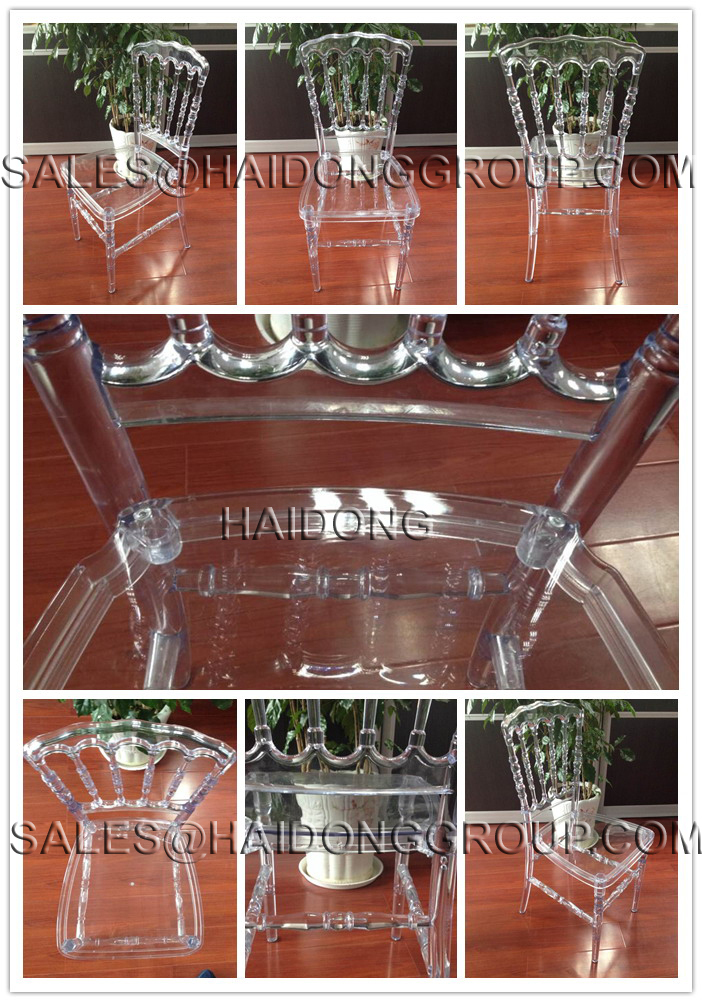 White Transparent Acrylic Commercial Resin Napoleon Wedding Chairs