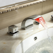 Waterfall LED wash basin faucet separate basin mixer