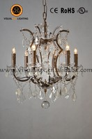 IC2081-6 Wedding Chandelier Clear Crystal Iron frame Wrought Iron Candle Chandeliers