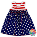 July 4th Party American Flag Wear Dresses For Girls White Red Striped Baby Girl Cotton Dresses Wholesale National Day Kids Dress