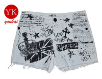 The new printing painting graffiti paint pattern wear white pants wild hand-painted personalized jeans shorts Pomo
