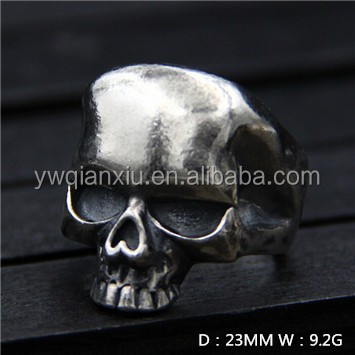 Fashion gothic skull <strong>18</strong> <strong>k</strong> <strong>gold</strong> plated 925 sterling silver jewelry men finger ring