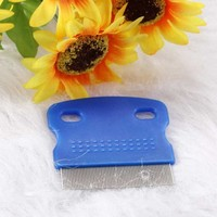 Pet Dog Cat Hair Flea Shedding Comb Grooming Pin Brush Slicker Trimmer Tool Blue