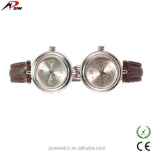 leather material double face watches for ladies