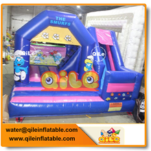 popular sale the smurfs theme inflatable mini combo jumper with durable quality for kids birthday party event