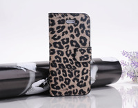 Leopard Leather Wallet Case For Iphone 5 5G