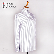 Gold Supplier Long Sleeve Blouse Regular Stripe Stand Collar Women Formal Shirt