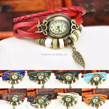 Antique brass tone oval alloy watch case multi wrap leather and wood beads alloy leaf pendant watch for unisex