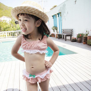 C74601A Little Kids Model Swimwear Girls Floral Pattern Swimsuit