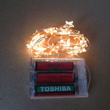 Christmas 5M 50L Battery Operated Star Shaped Led Copper Wire String Lights