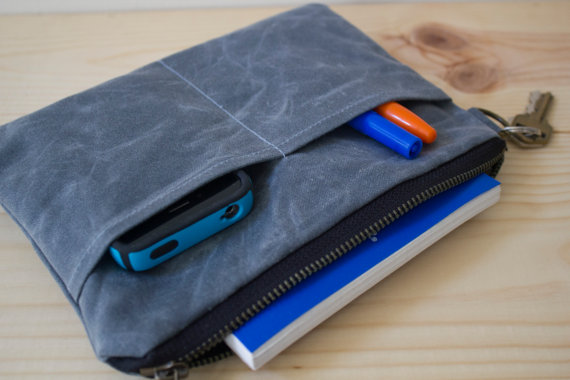 custom high quality waxed canvas zipper pouch with phone pocket