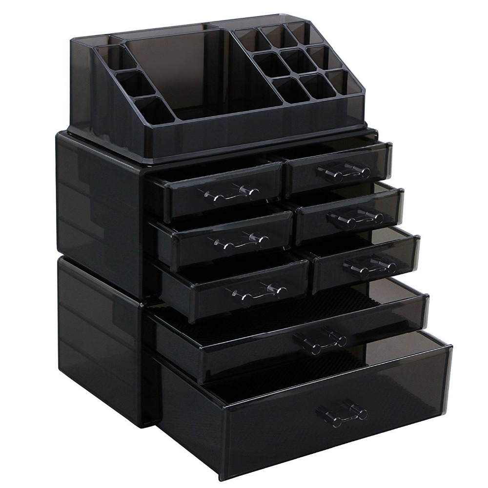 100% Acrylic Large Size Makeup Organizer 8 Drawers Cosmetic Storage 3 Pieces Set Display Case with 16 Top Compartments