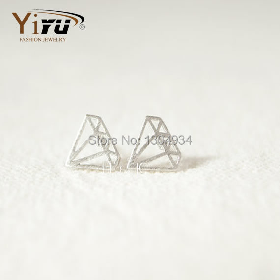 Stud Earrings 2015 New Fashion Brand Gold&Silver&Rose Good-Looking Flat Jewelry-Shaped Stud Earrings Charming Ear Stud E028