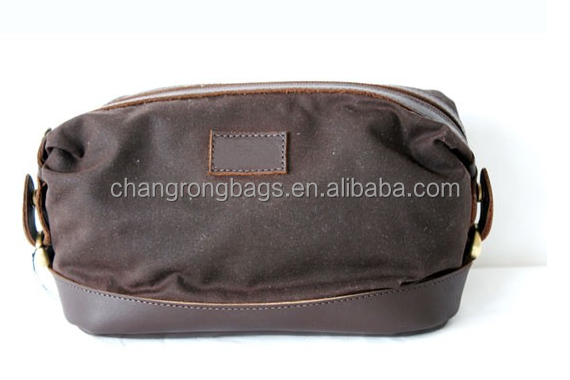Hot sell custom waxed canvas dopp kit, waxed canvas wash bag for man, waxed canvas cosmetic bag manufacturer