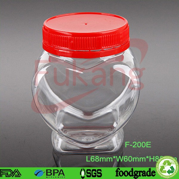 plastic bottles wholesale 200ml small heart shape pet clear plastic jar for candy, tea, nuts, honey, chocolate