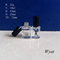 cheap empty nail polish glass bottle 10ml square glass nail bottle with brush cap